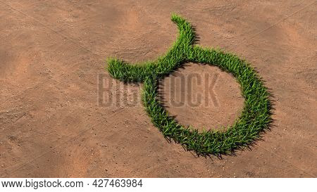 Concept conceptual green summer lawn grass symbol shape on brown soil or earth background, sign of taurus zodiac sign. 3d illustration symbol for esoteric, mystic, the power of prediction of astrology