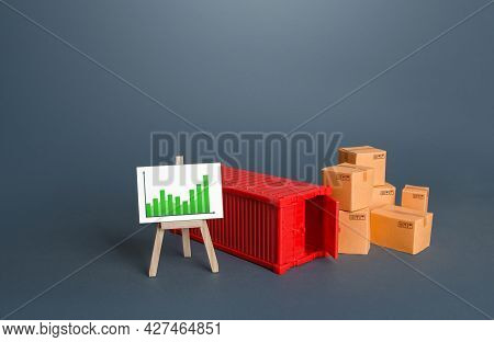 Shipping Container And Boxes Near Easel With Positive Growth Graph. World Trade Traffic Recovery. Hi