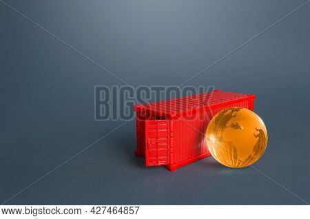 Cargo Ship Container And Earth Globe. Services Of Express Delivery And Transportation Of Goods. Busi