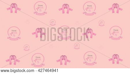 Composition of multiple ribbon and breast cancer text on pink background. breast cancer positive awareness campaign concept digitally generated image.