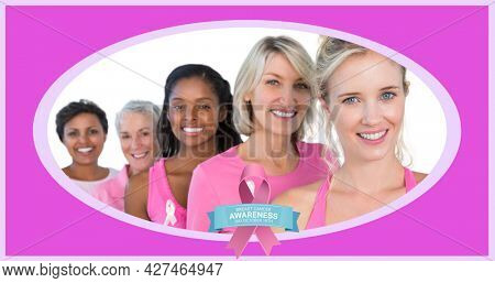 Composition of pink ribbon logo and breast cancer text over diverse group of smiling women. breast cancer positive awareness campaign concept digitally generated image.