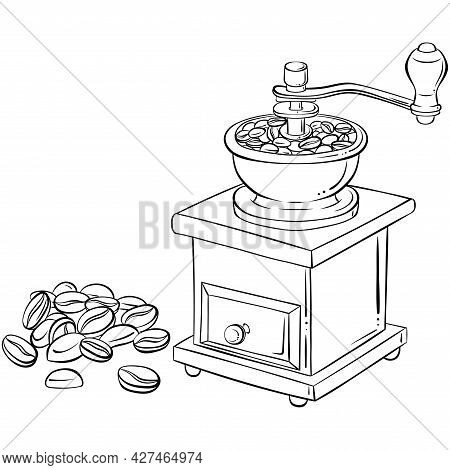 Retro Manual Coffee Grinder Or Mill. Hand Drawn Vector Illustration In Sketch Style Isolated On Whit