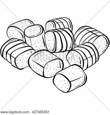 Marshmallows Line Art. Hand Drawn Vector Illustration In Sketch Style Isolated On White. Doodle Mars
