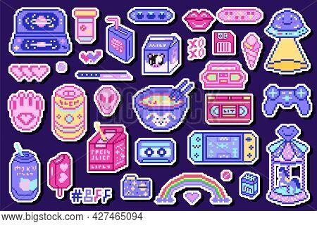Pixel Art 8 Bit Objects. Retro Digital Game Assets. Set Of Pink Fashion Icons. Vintage Girly Sticker