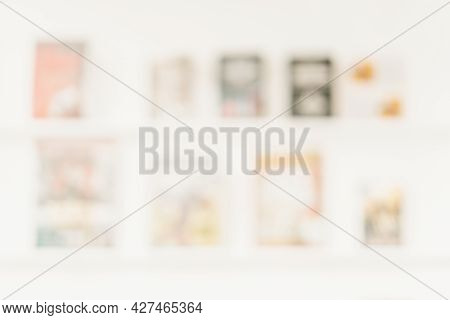 Several Books On Shelf, Light Blurred Background. Concept Of Learning, School, Back To School, Educa