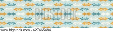 Summer Tropical Stripe Seamless Border Pattern. Bright Retro Broken Line Banner Edge. Fun Gender Neu