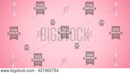 Composition of multiple breast cancer text on pink background. breast cancer positive awareness campaign concept digitally generated image.