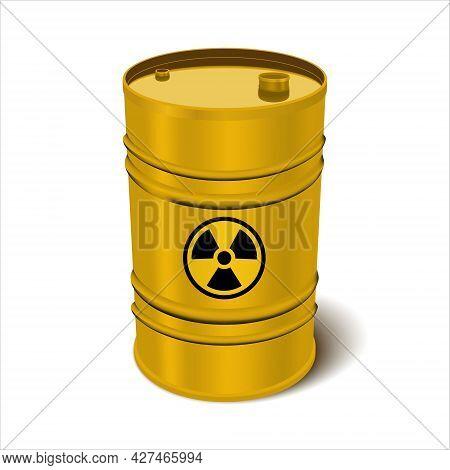 Toxic, Radioactive Waste. Yellow Iron Barrel Isolated On White Background.vector Illustration. Isola