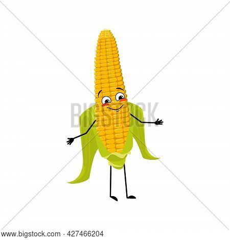 Cute Corn Cob Character With Joyful Emotions, Happy Face, Smile Eyes, Arms And Legs. Funny Yellow Ve
