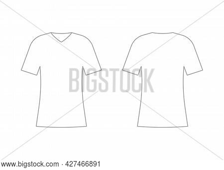Womens White T-shirt V Neck Outline Template With Short Sleeve. Shirt Mockup In Front And Back View.