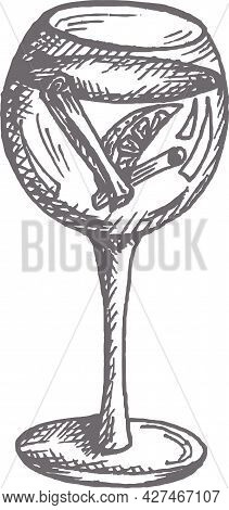 Illustration Of Campari Or Aperol Spritz Cocktail In A Wine Glass Hand Drawn Vector Illustration