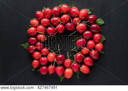 Little Red Wild Apples On Black Background.