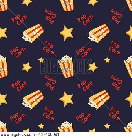 Bright Seamless Pattern With A Festive Box With Popcorn, Words And Stars. Bright Print For Cinema, T