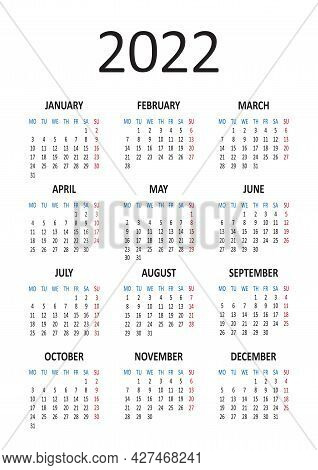 Yearly Calendar 2022. Week Starts From Monday. Vector Illustration