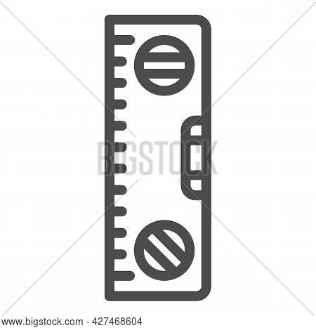 Building Meter Tool Line Icon, Construction Tools Concept, Spirit Level Ruler Vector Sign On White B