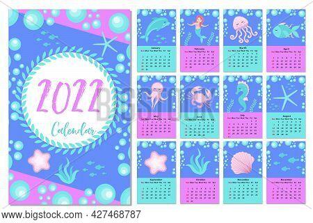 Calendar 2022 Cute Set Little Mermaid And Underwater World. Vector Illustration