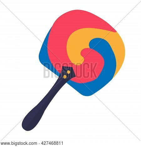 Korean Fan Icon Flat Style. Isolated On White Background. Vector Illustration