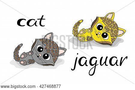 Cute Cartoon Cat And Jaguar. Vector Illustration Design For Fashion Fabrics, Textile Graphics, Print