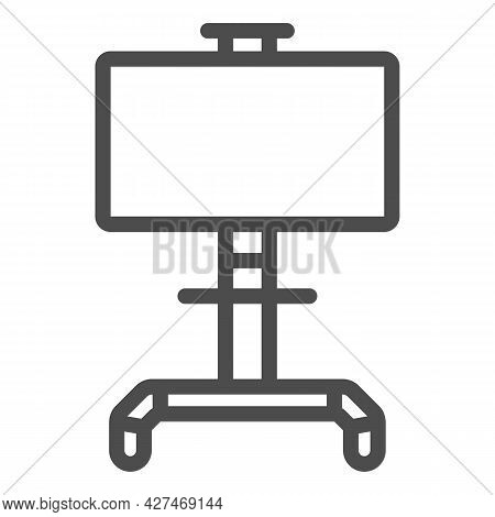 Lcd Tv With Stand Line Icon, Monitors And Tv Concept, Lsd Tv On Swivel Stand Vector Sign On White Ba