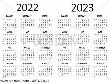 American Calendar 2022 2023 Years. Week Starts From Sunday. Vector Illustration