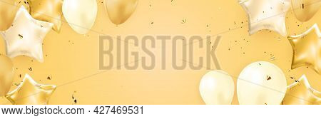 Congratulations Banner Design With Confetti, Balloons And Glossy Glitter Ribbon For Party Holiday Ba