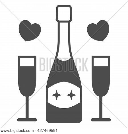 Champagne For Two Person Solid Icon, 8 March Concept, Romantic Date Symbol On White Background, Cham