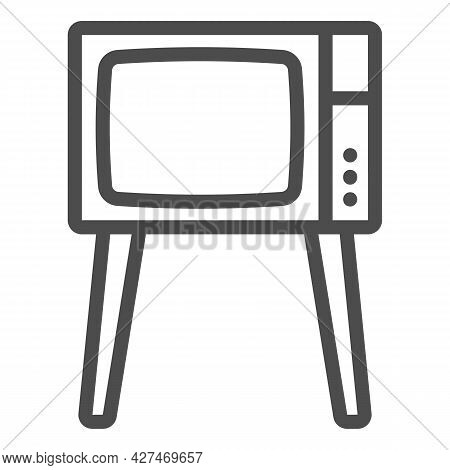 Tv On Legs Line Icon, Monitors And Tv Concept, Old Fashioned Vintage Tv On Legs Vector Sign On White
