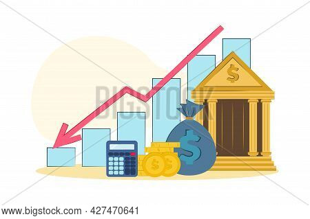 Vector Illustration Loss Of Money. The Concept Of Financial Crisis, Bankruptcy, The Onset Of Poverty