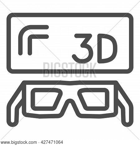 3d Screen And Glasses Line Icon, Tv Concept, Three Dimensional Monitor And Spectacles Vector Sign On