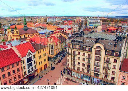 Ivano-frankivsk / Uklraine 24 October 2017: City Panorama Top View. Wonderful Architecture Of Ivano-