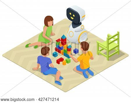 Isometric Robot Baby Sitter Playing Cubes With Children. Robot Nanny And Kids Playing Educational To