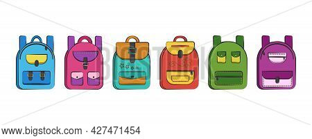 Backpack School Vector Icons, Colorful Rucksack Set, Schoolbag Isolated On White Background. Educati