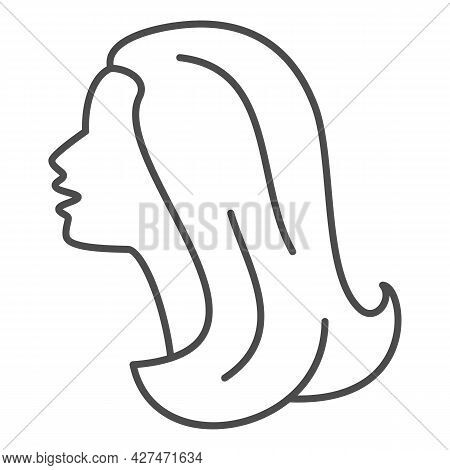 Female Head Silhouette Thin Line Icon, 8 March Concept, Woman Profile Sign On White Background, Beau