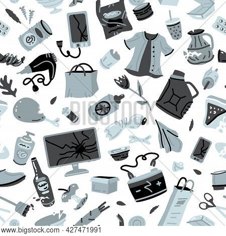 Recycling Garbage Vector Texture. Rubbish Seamless Pattern. Trash Background With Crumpled Paper, Pl