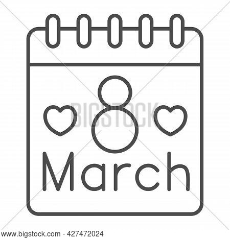 International Women Day Calendar Thin Line Icon, 8 March Concept, Calendar Day On 8th March Sign On