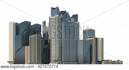 Cityscape 3d Illustration Isolated On White Background