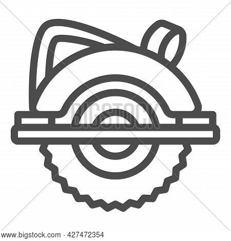 Circular Saw Line Icon, Construction Tools Concept, Electric Circular Saw Vector Sign On White Backg