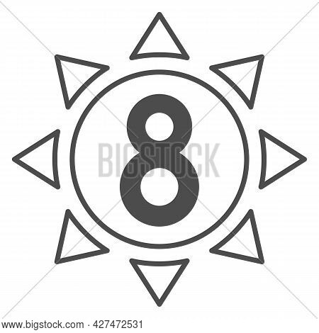 Eight In Sun Solid Icon, 8 March Concept, Sun Symbol With Eight Number On White Background, Sunny Wo