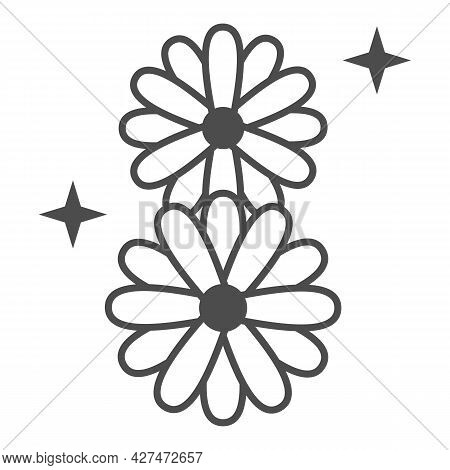 Daisies In Eight Shape Solid Icon, 8 March Concept, Chamomile Flowers Sign On White Background, Marc
