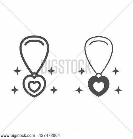 Pendant In Shape Of Heart On Chain Line And Solid Icon, 8 March Concept, Chain With Jewelry Accessor
