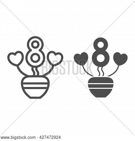 Flower In Form Of Eight And Leaves In Form Of Hearts Line And Solid Icon, 8 March Concept, Woman Day