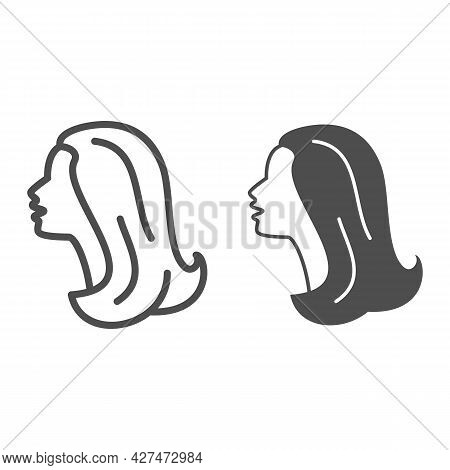 Female Head Silhouette Line And Solid Icon, 8 March Concept, Woman Profile Sign On White Background,