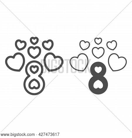 Eight Number With Hearts Line And Solid Icon, 8 March Concept, Women Day Greeting Card Sign On White