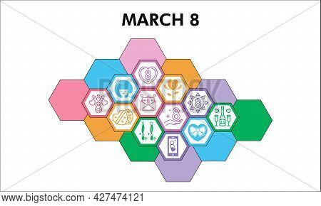 Modern 8 March Infographic Design Template With Icons. International Women Day Infographic Visualiza