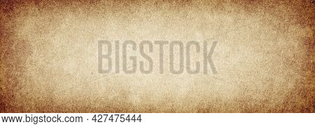 Old Brown Grunge Background Rough Paper Texture With Vignette