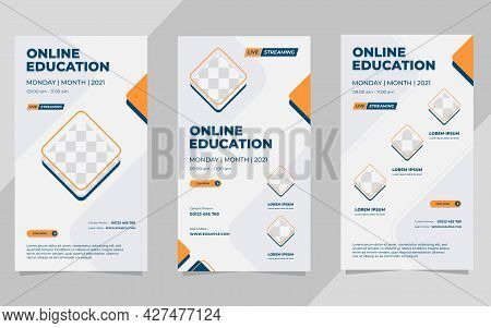 Set Of Minimal Social Media Stories Post Templates For Online Education With Geometric Background An