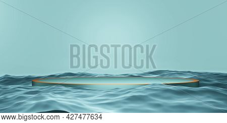 Stage Product Podium Stage Blue On The Water 3d Illustration