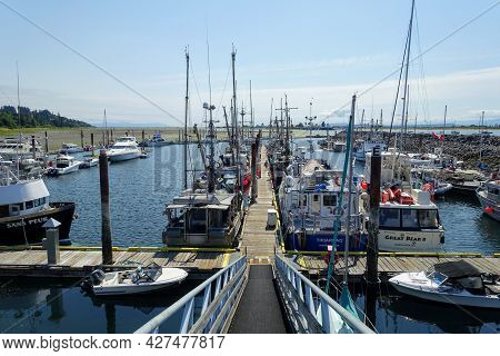 Comox, British Columbia, Canada - July 8th, 2021: A Marina With Docks Full Of All Types Of Boats On
