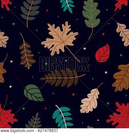 Pattern Of Various Autumn Leaves. Vector Illustration