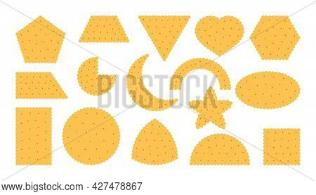 Wheat Biscuit Icons Set. Breakfast Snack, Cracker In Flat Cartoon Style. Collection Tasty Food Cooki
